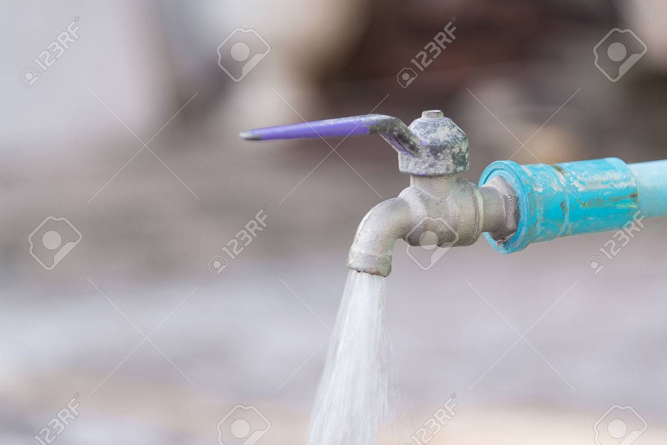 Water Drop From Old Chrome Faucet And Water Pipeline, Rusty Tap ...