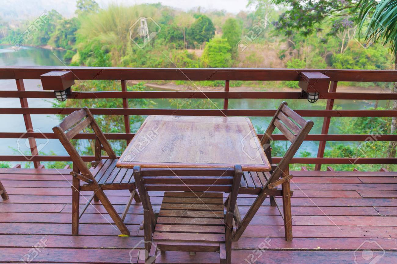 Wooden table and chair in resort and garden, dining set at wooden..