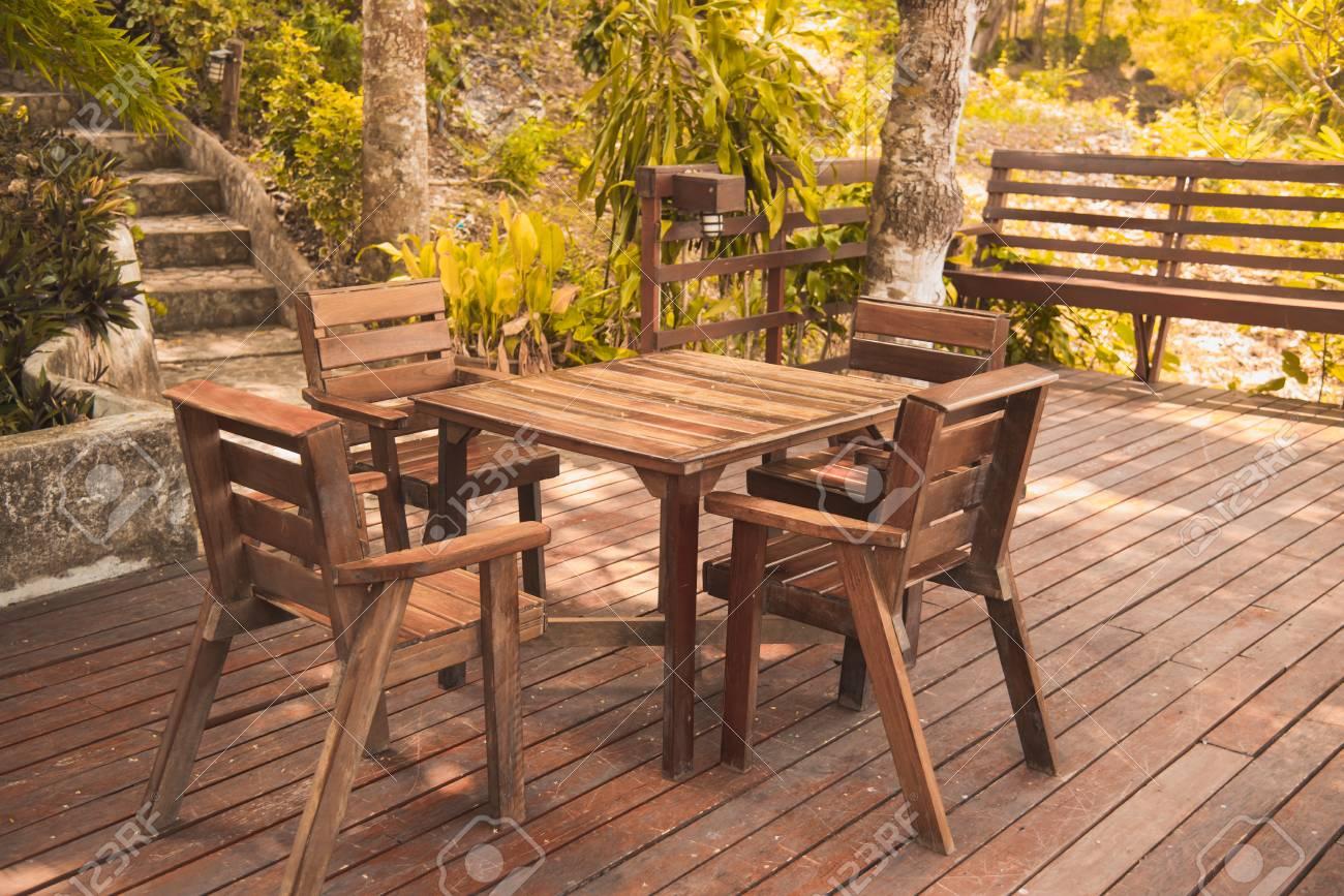 Table Corner On Wooden Terrace Vintage Solid Wood Furniture