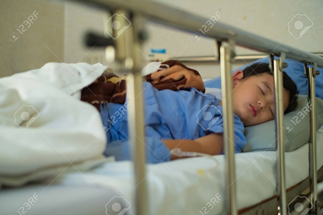 Sick Asian Kid Boy 2 Years Old Lying Sick In Hospital Bed Selective