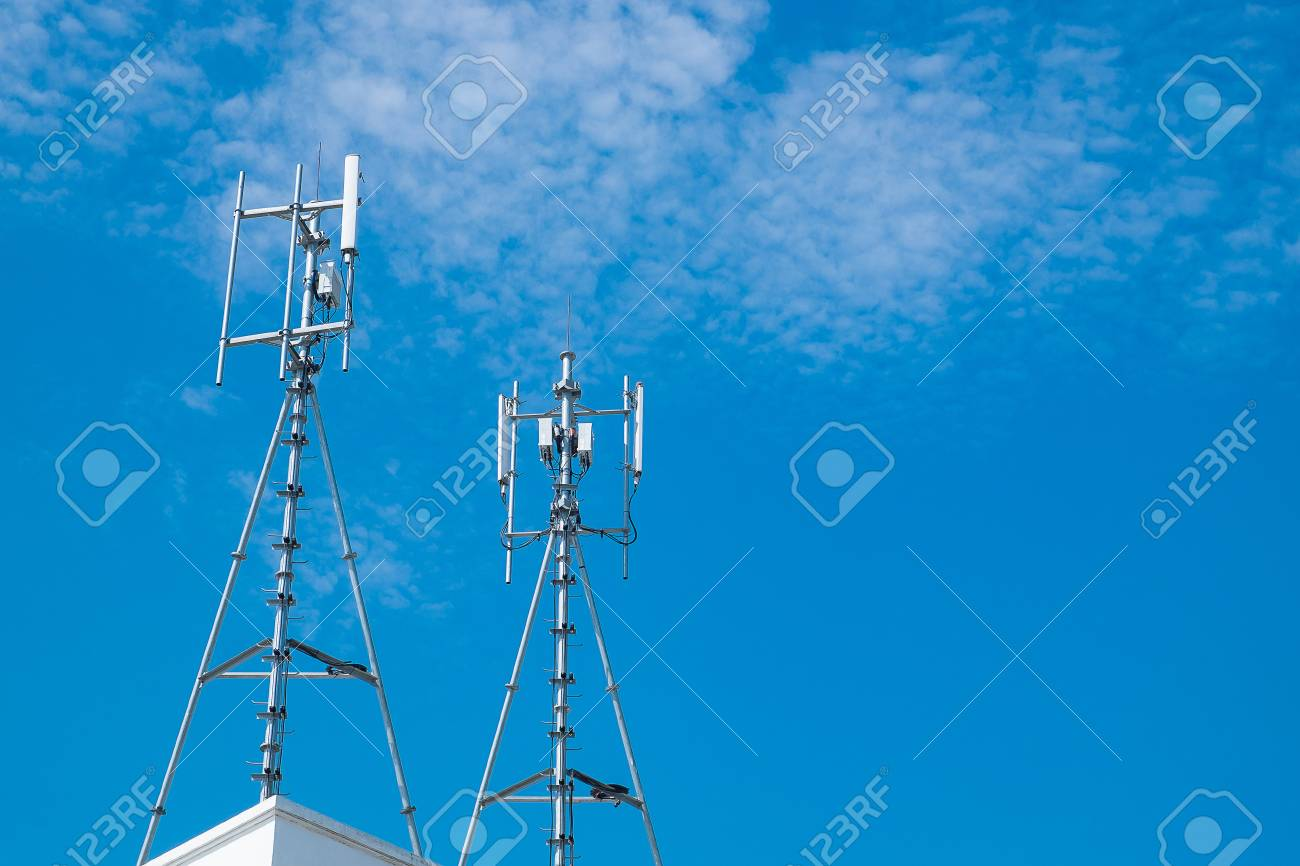 Antennas of cellular and communication systems with the blue