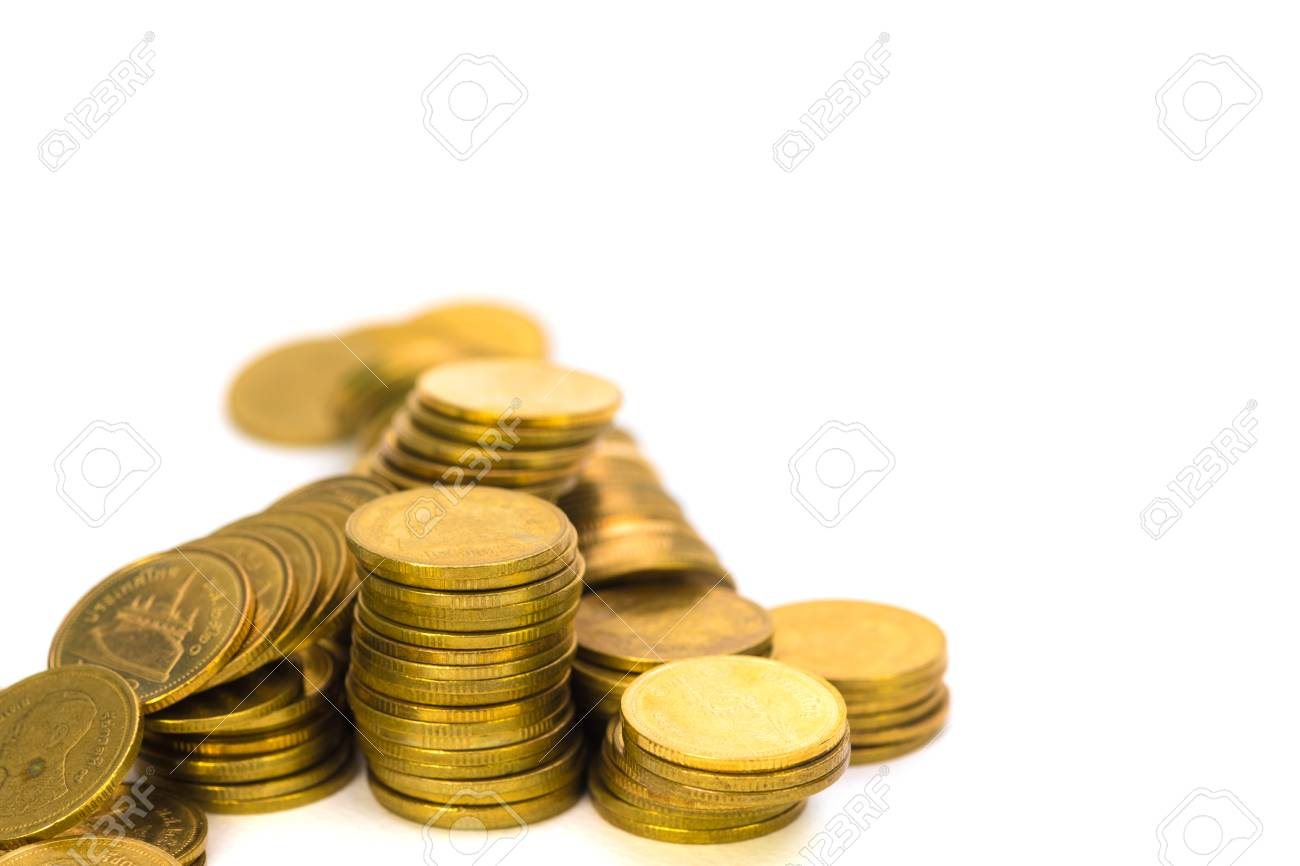 Columns Of Coins Piles Of Coins On White Background Business