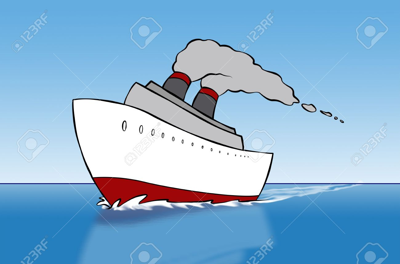 Un Dessin Animé Le Navire En Croisière Sur La Mer Banque D Images