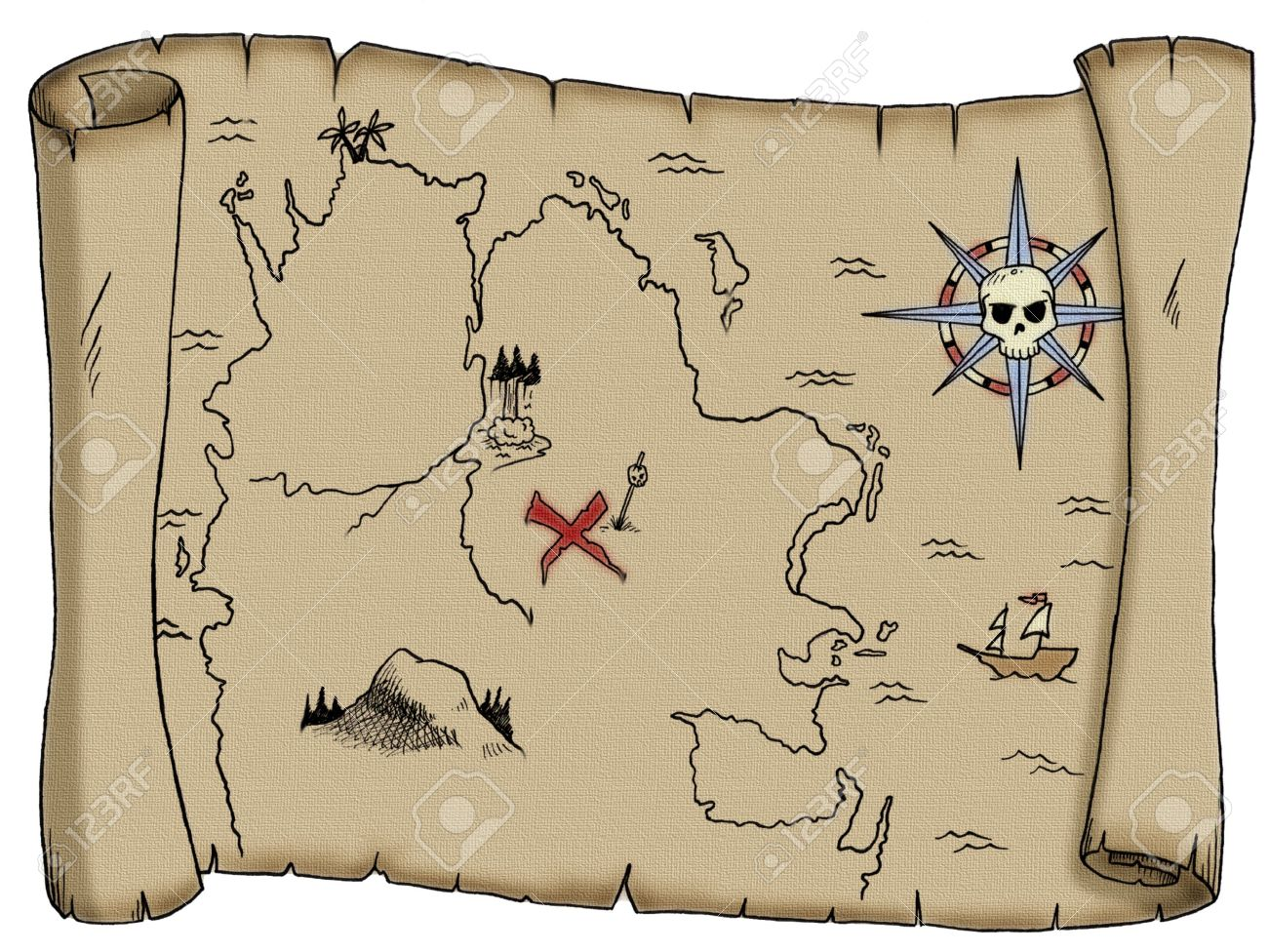 carte au trésor pirate A Tattered, Blank Pirate Treasure Map. Stock Photo, Picture And
