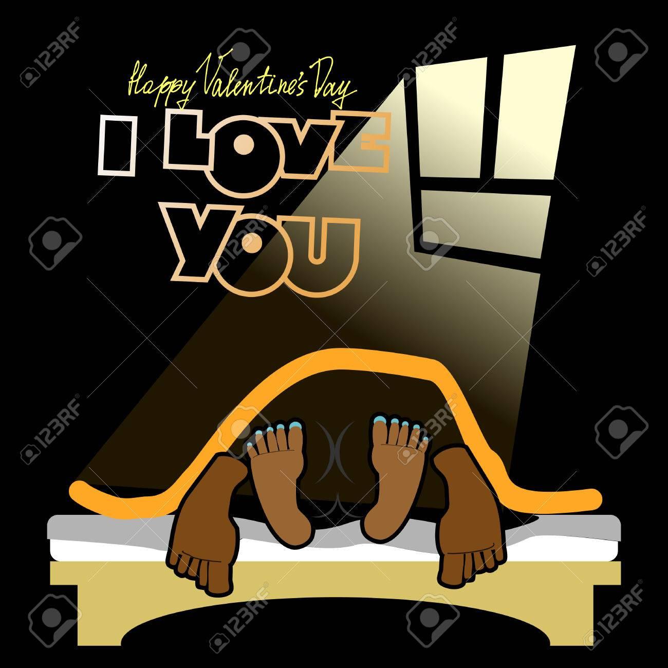 Valentine Joyeux Inhabituelle Carte De Saint Valentin Un Drole Fond Noir Le Sexe Sur Un Lit L Amour Et Les Relations Entre Les Gens Je Te Aime L Homme Et La Femme Sur Le Lit