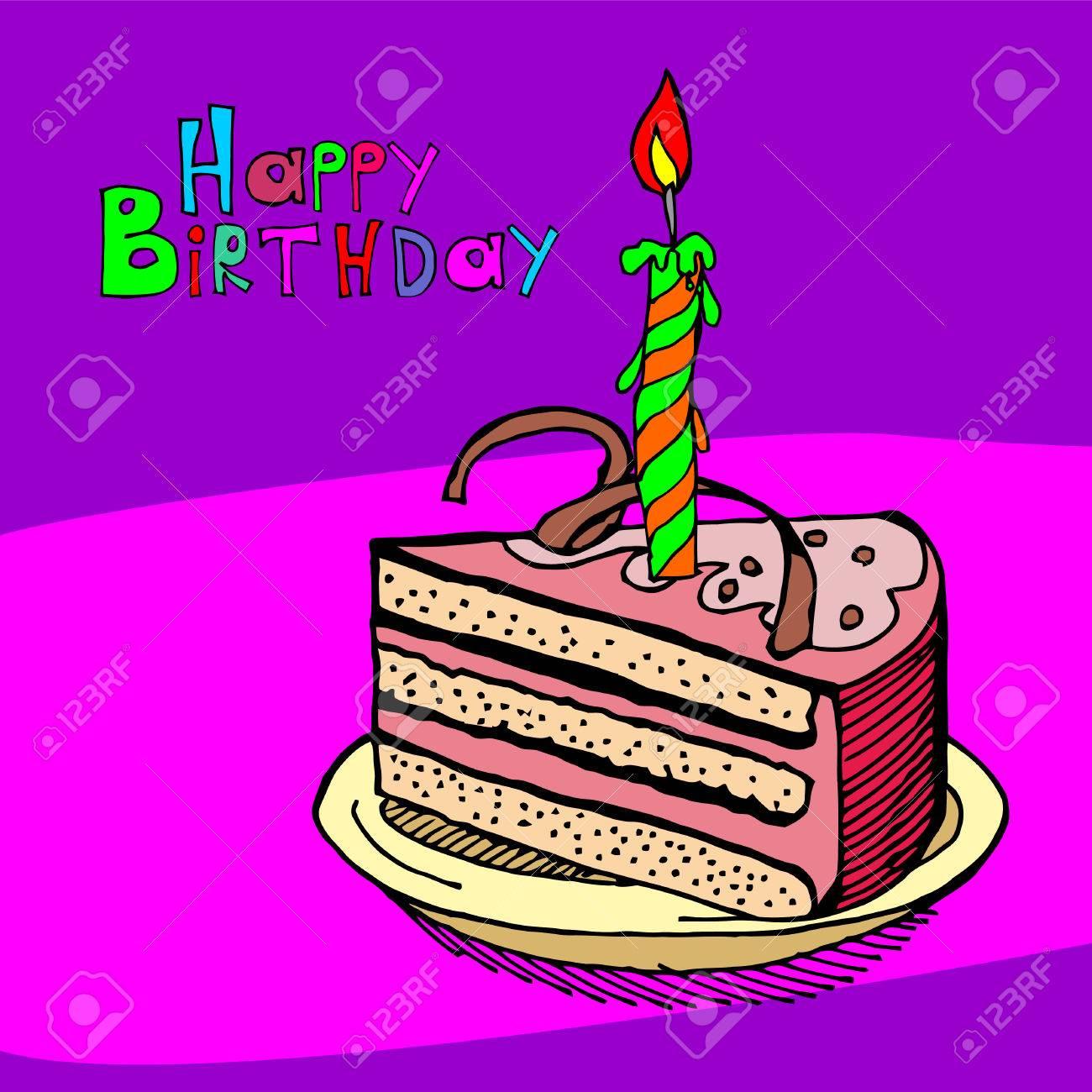 Cartoon Cake Birthday Card Candle Royalty Free Cliparts Vectors