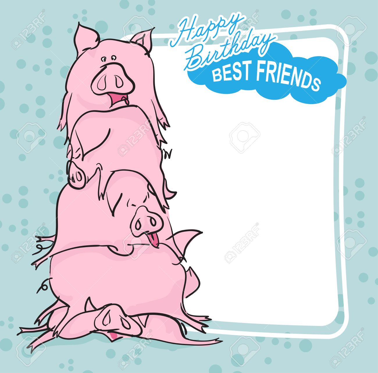Happy Birthday Bunch Of Pigs Best Friends Forever Greeting