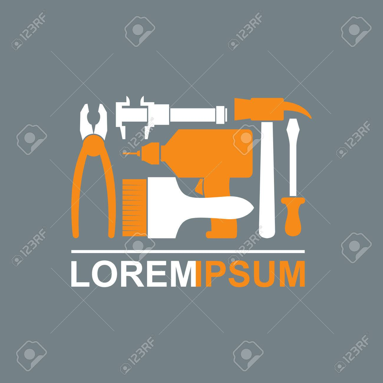 Logo of Construction tools. Carpentry tools to master. Pliers screwdriver drill hammer brush. Template conceptual Tool shop. Vector illustration - 39692774