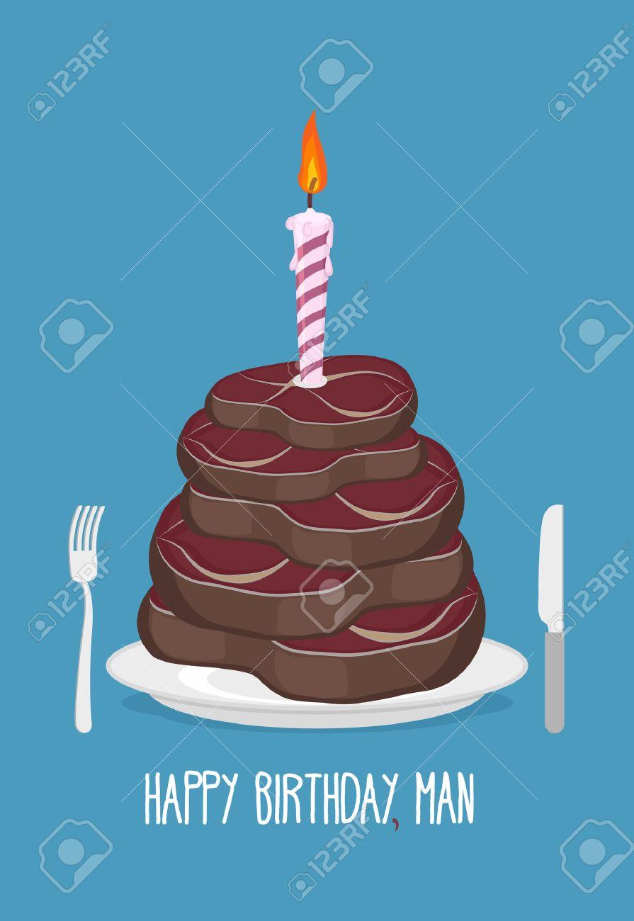 Happy Birthday Man Delicious Steaks Congratulation Card Stock