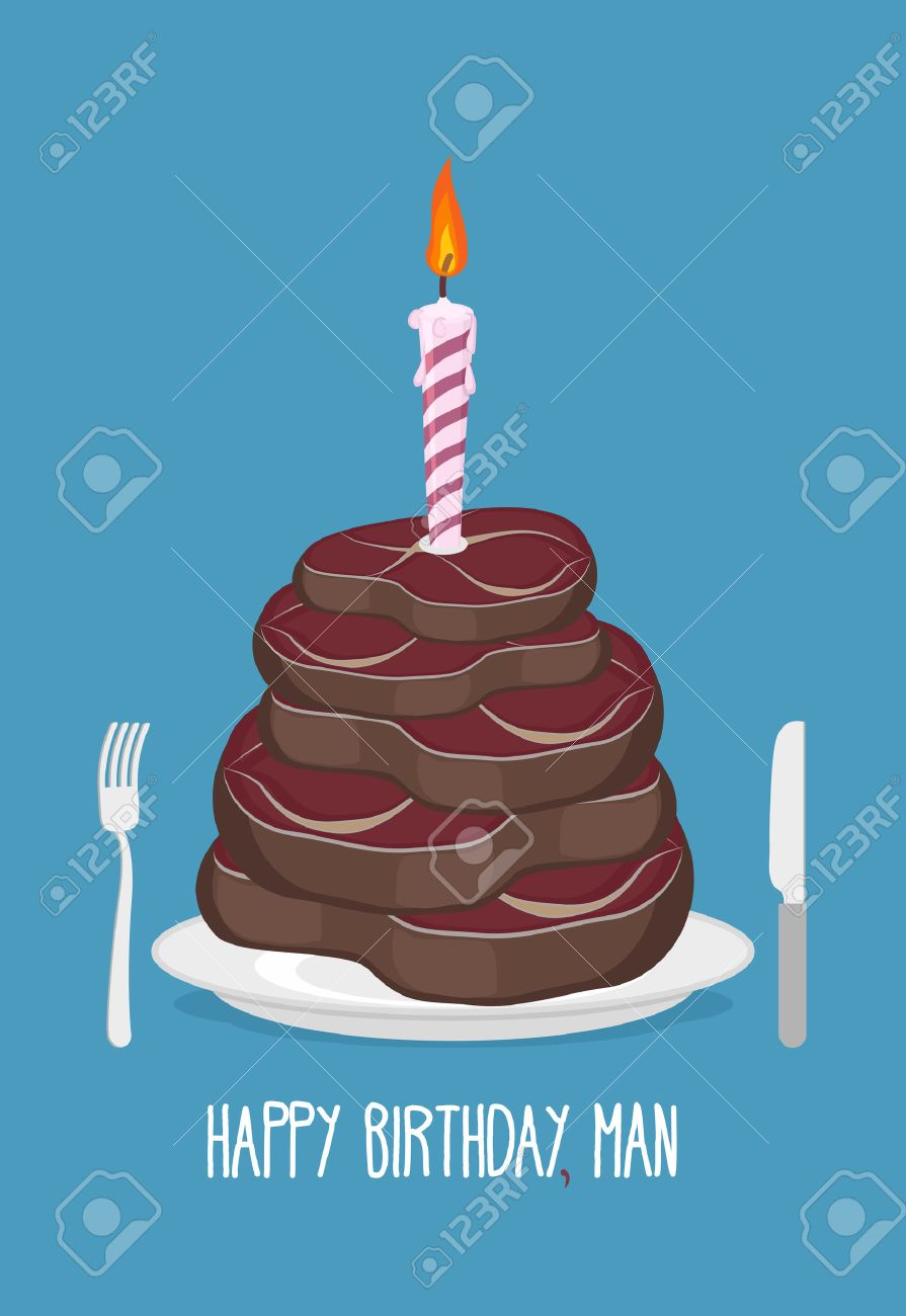 Kuchen Fleischstücke Alles Gute Zum Geburtstag Mann Leckere Steaks