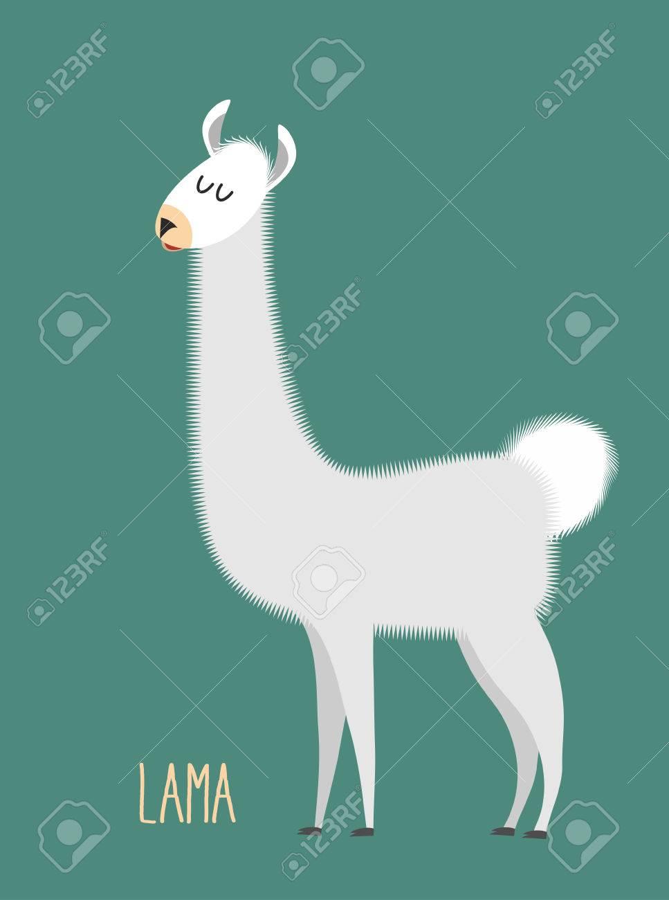 Llama Alpaca. Animal Lama on a green background. Vector illustration - 41119114