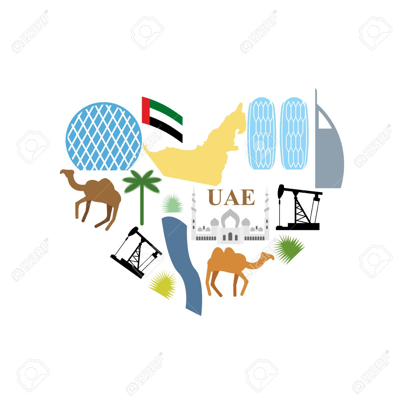 I Love Uae Symbol Heart Attractions Of United Arab Emirates Map
