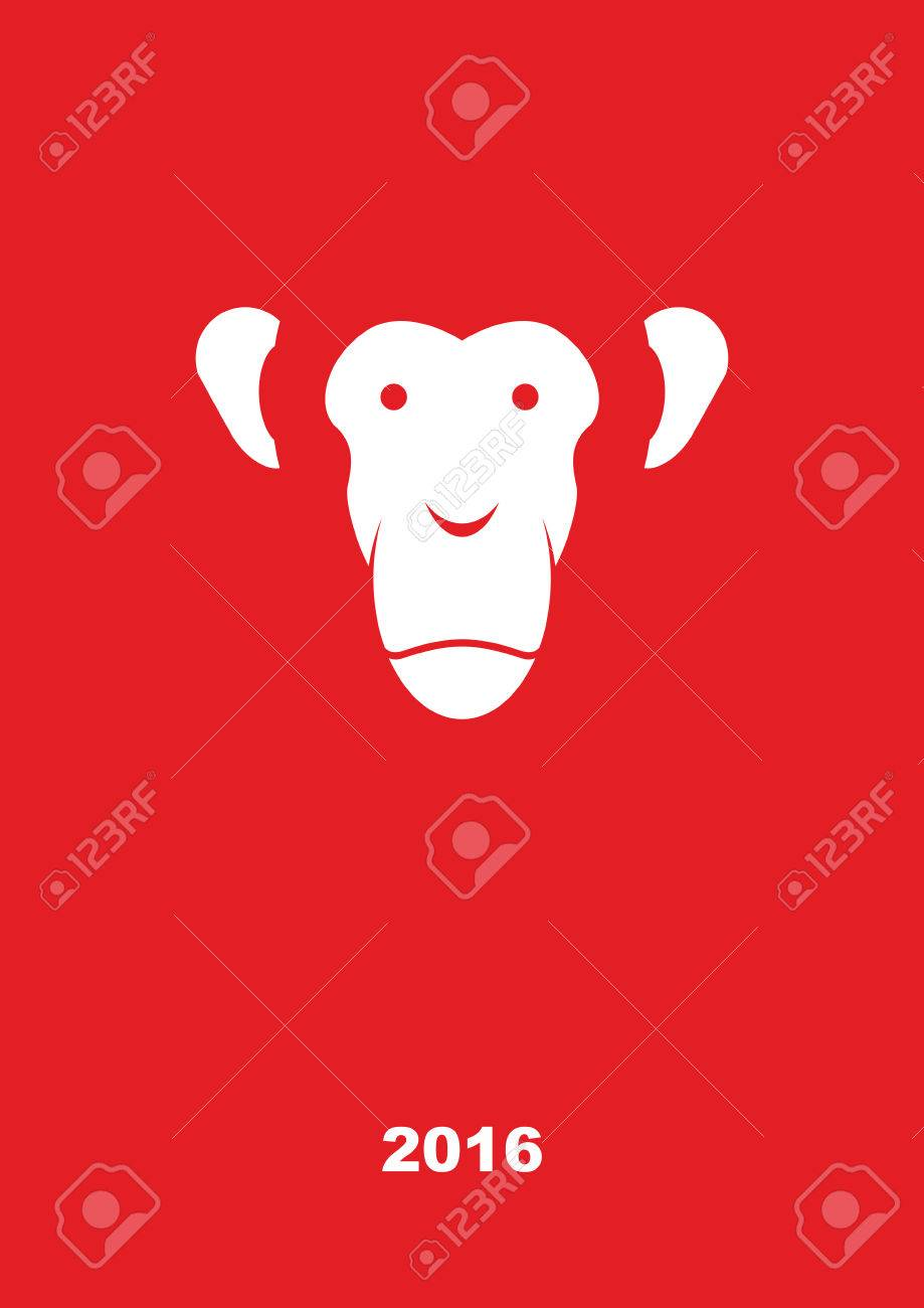 Monkey year 2016. Year of fire monkey. Greeting card on a red background. Vector illustration. - 41987237