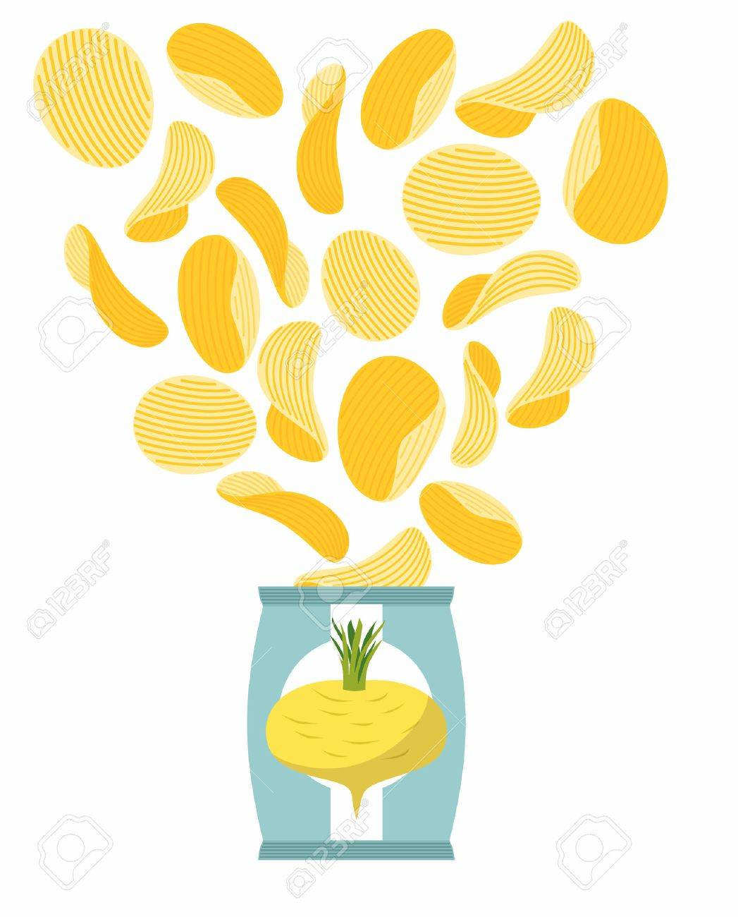 Potato chips taste of turnips. Packaging, bag of chips on a white background. Chips flying out from Pack. Delicacy for vegetarians. Food vector illustration. - 42503764