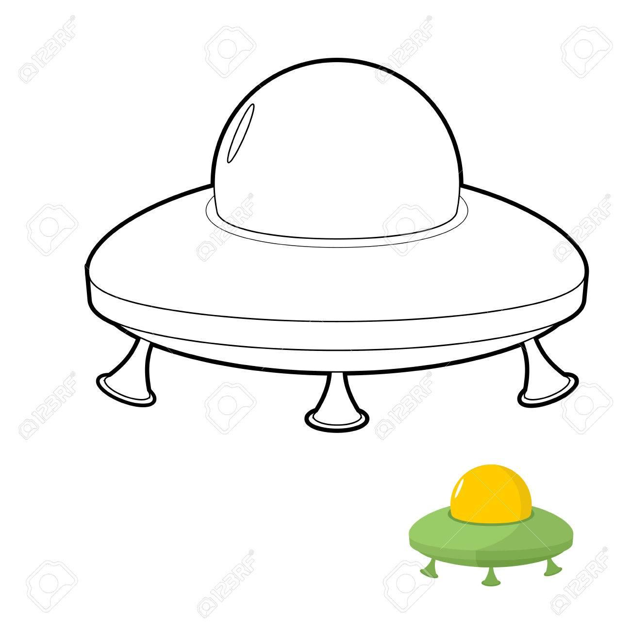 UFO Ilustración De Libros Para Colorear De Un Transporte Espacial ...