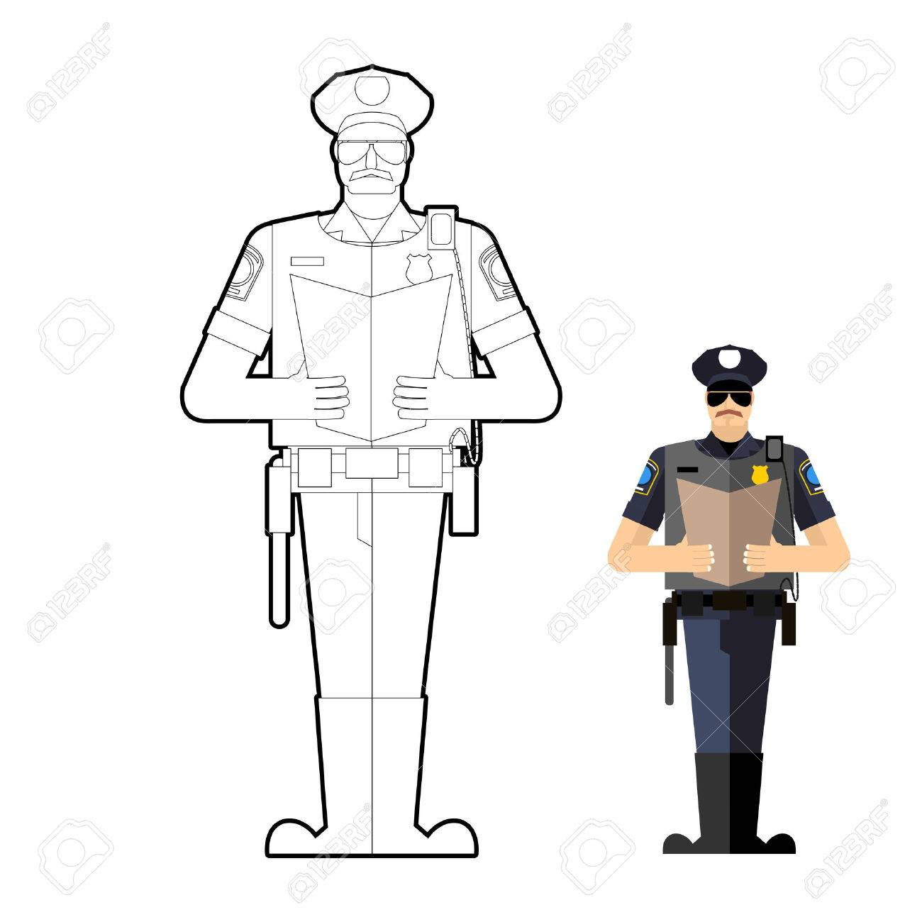 - Policeman Coloring Book. Police Officer At Work. Vector