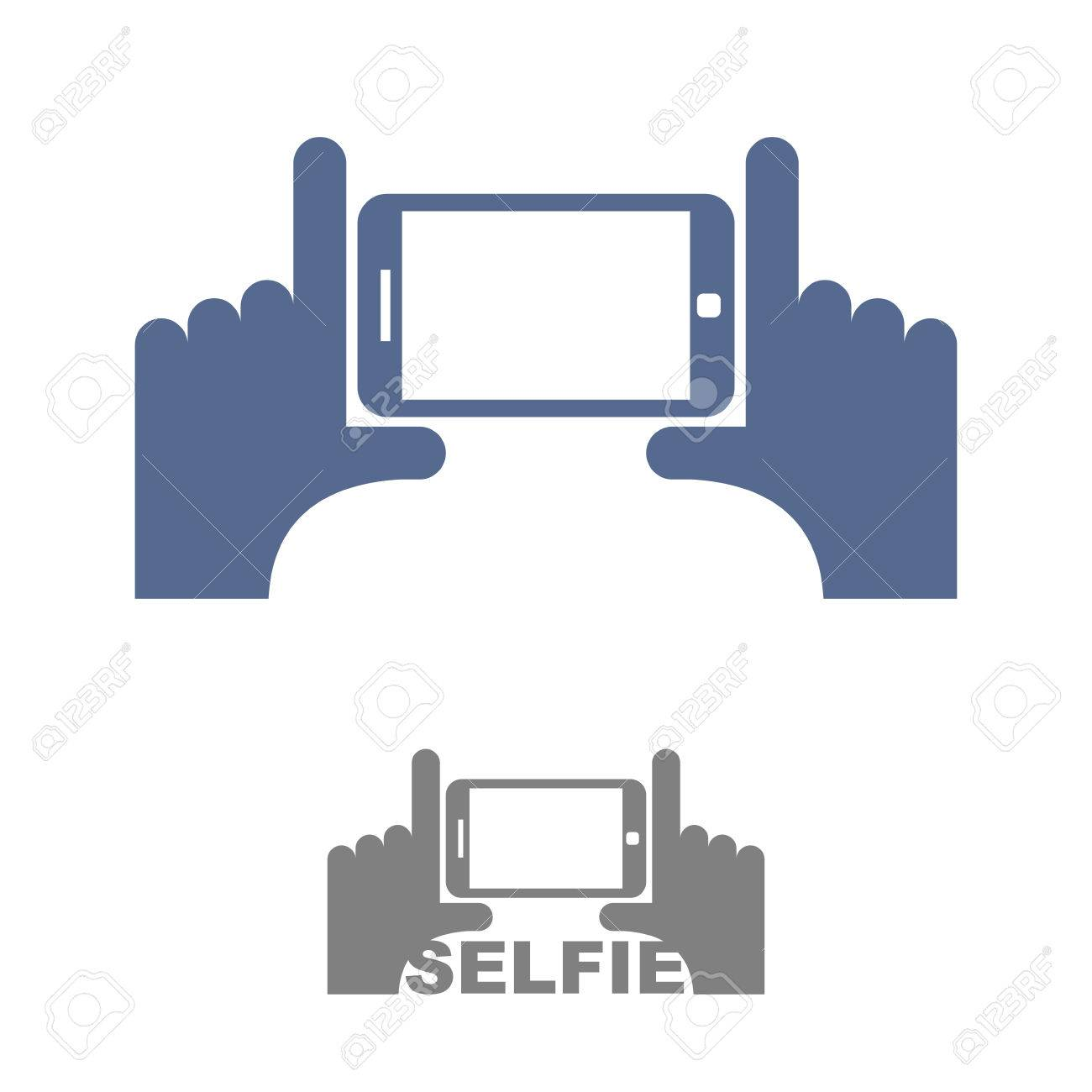 Selfie Logo. Sign emblem for a photo on phone. Hands and a Smartphone. Vector illustration - 42793699