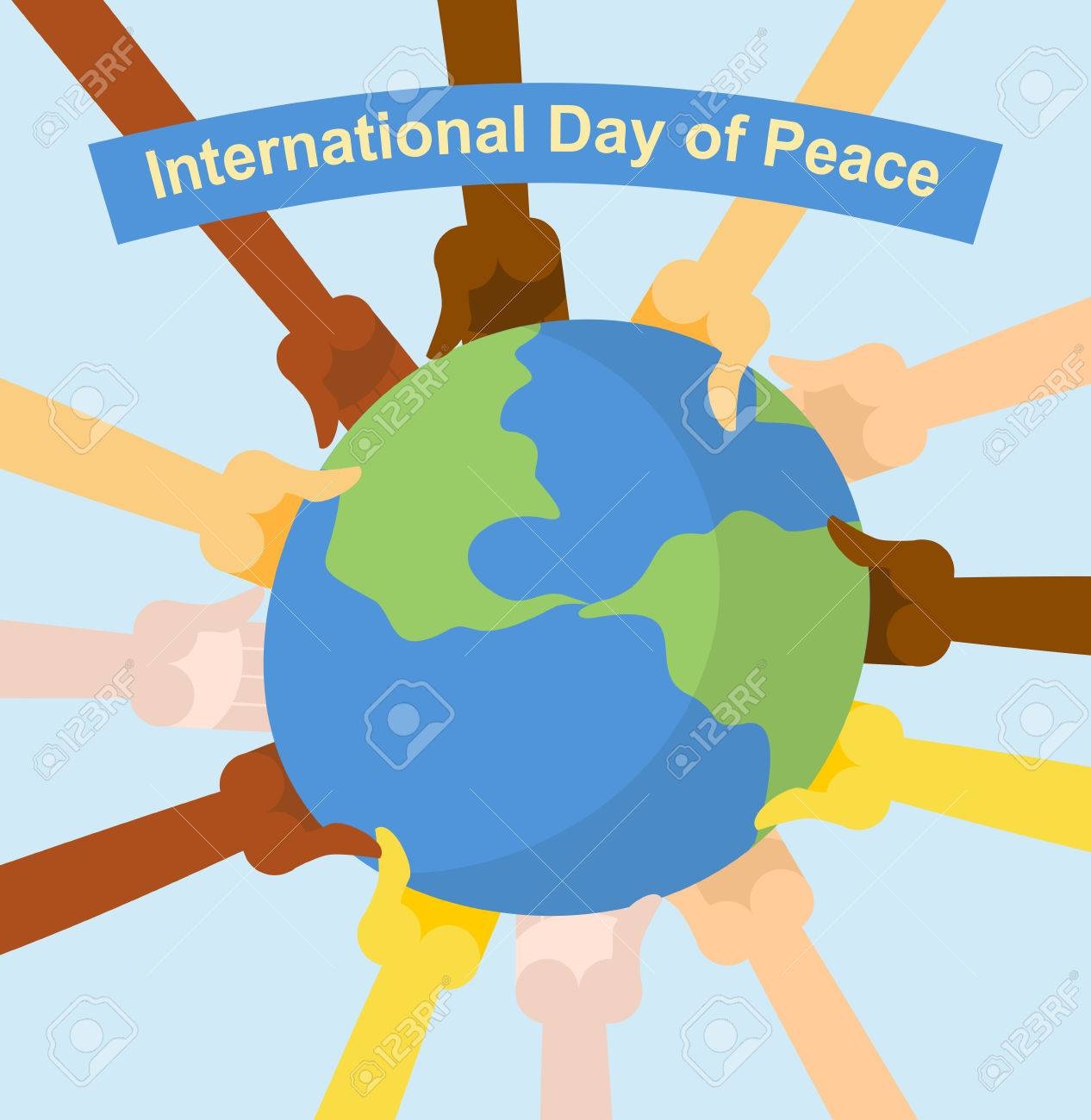International day of peace. Hands of different nationalities holding planet Earth. Vector poster for holiday - 43128267