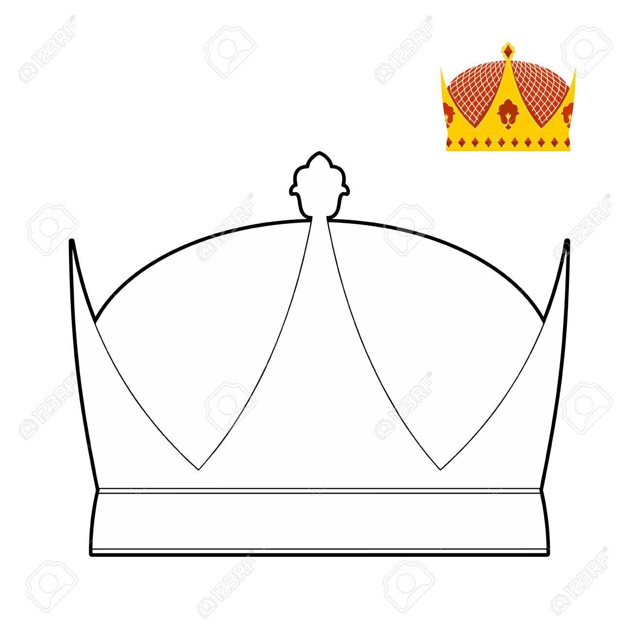 Libro Para Colorear Corona Corona Real Sombrero Para El Rey