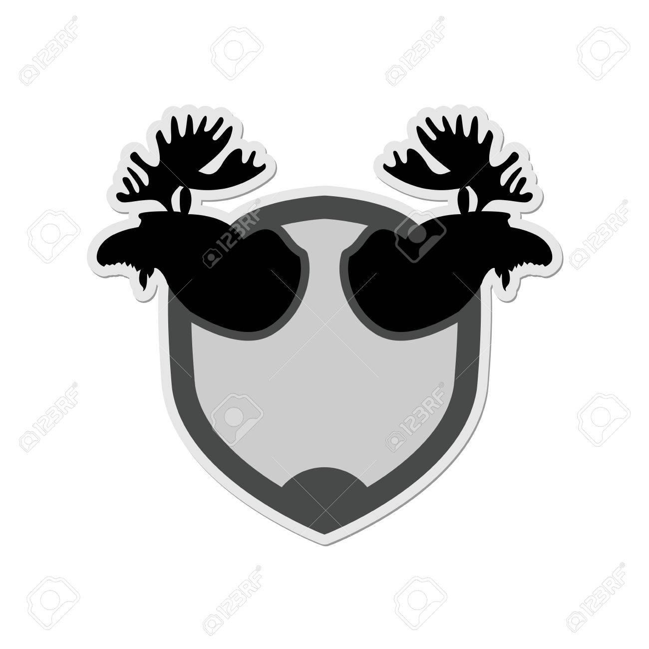 Elch-Kopf Auf Einem Schild. Emblem Für Die Jagd-Verein. Vektor ...