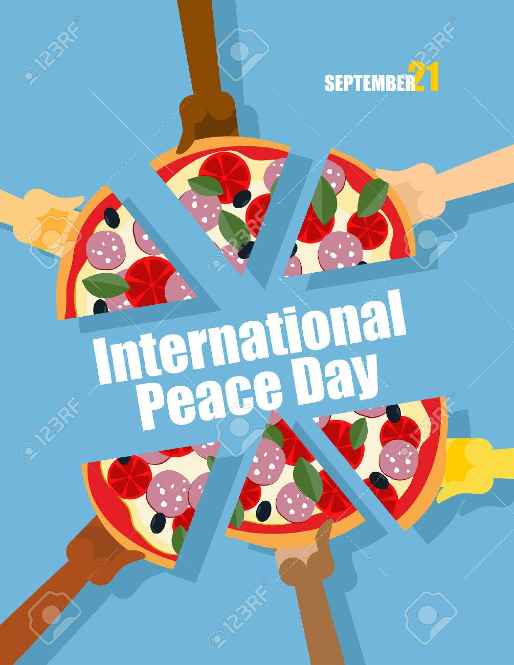 Day of Peace. 21 September international holiday. People eat pizza. Large pizza cut into pieces. Vector poster for event. - 43661970