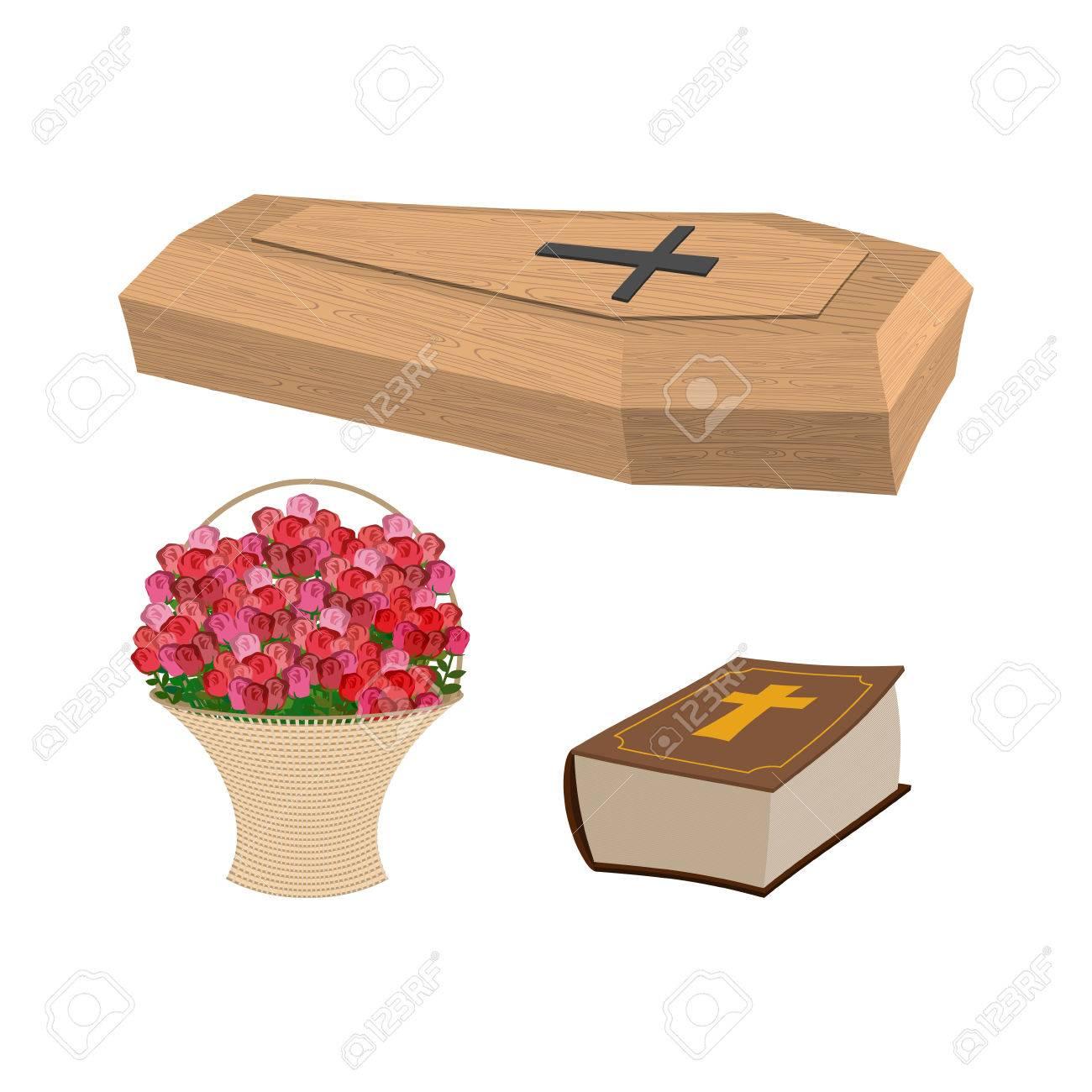 Set Beerdigung, Sarg Und Bibel. Korb Mit Blumen Für Vergraben Toter ...