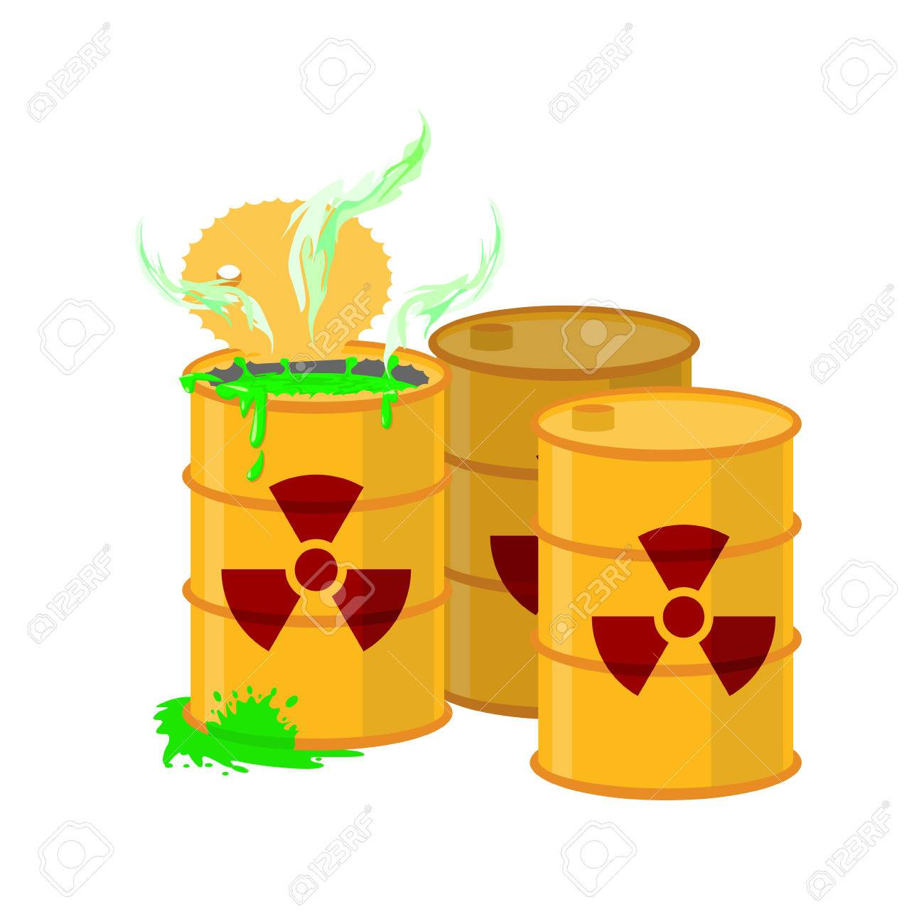 Yellow barrel with a radiation sign. Open container of radioactive waste. Green spilled acid. Vector illustration - 43817578