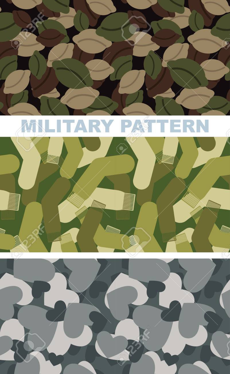 Conjunto De Textura De Camuflaje Militar. Patrón Ejército De Bolas ...