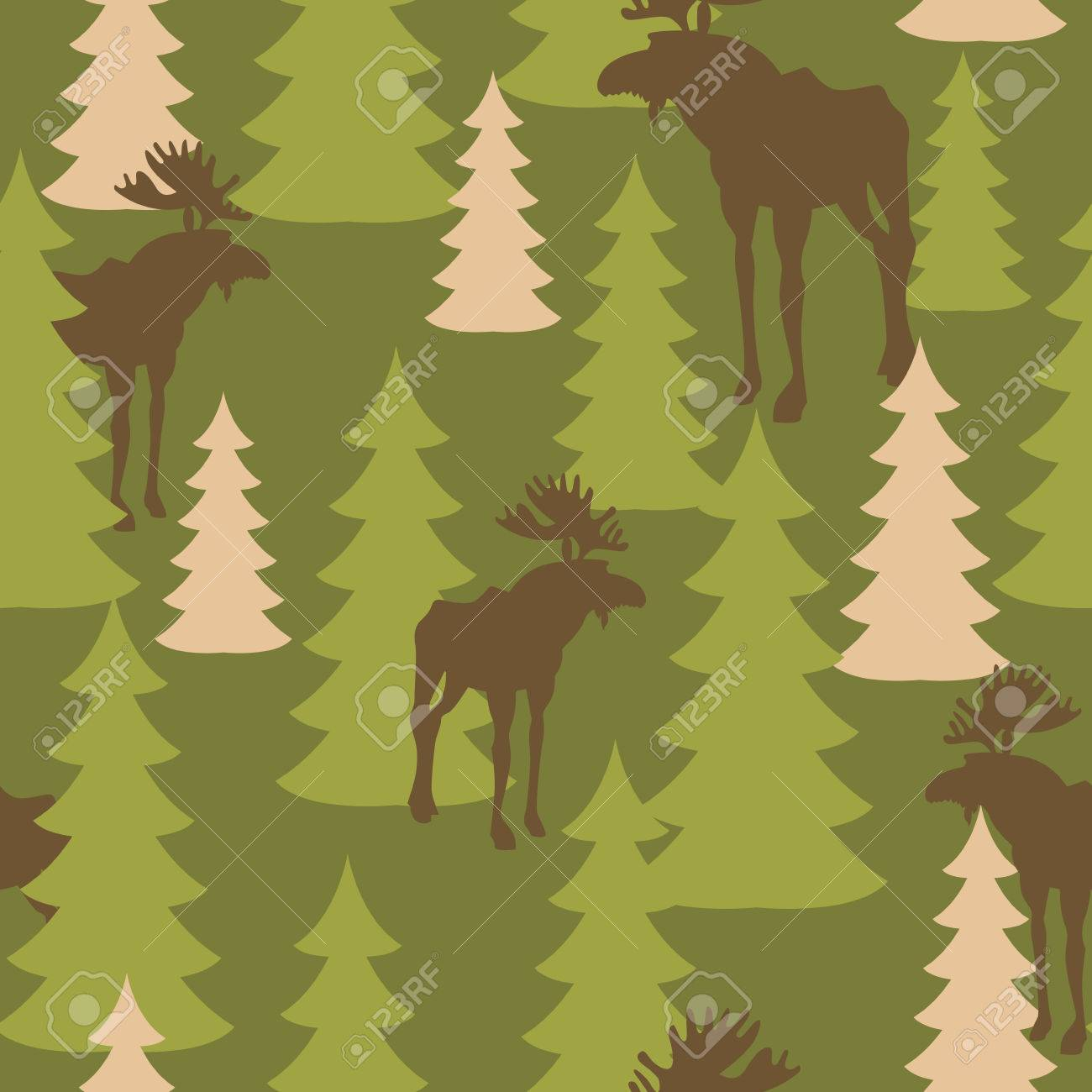 Army pattern of deer and forest. Military camouflage texture Vector Moose and trees. Hunter protective seamless pattern. - 43815249