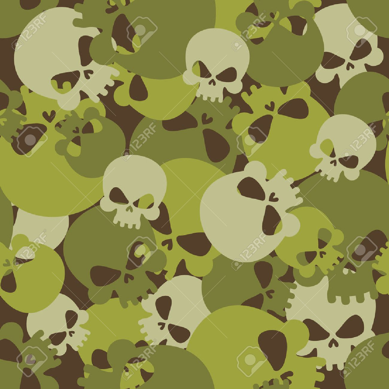 Military texture of skulls. Camouflage army seamless pattern from head skeletons. Scary seamless background for soldiers. - 43815257