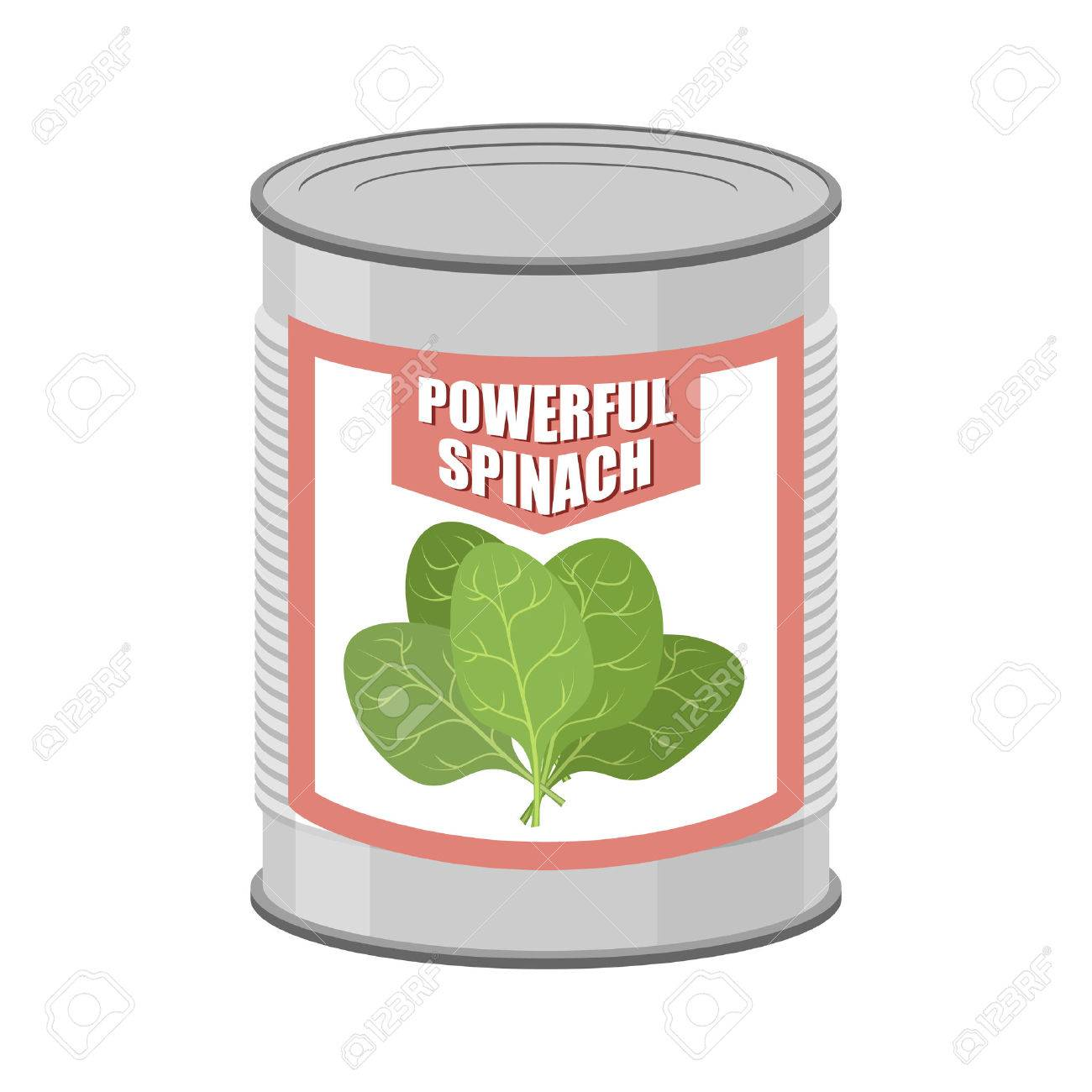 Powerful spinach. Canned spinach. Canning pot with lettuce leaves. Delicacy for vegetarians. Vector illustration - 44010130