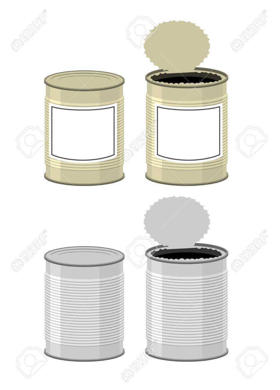 Template Tin with design. Open a tin can. Tin on a white background. Vector illustration - 44010140