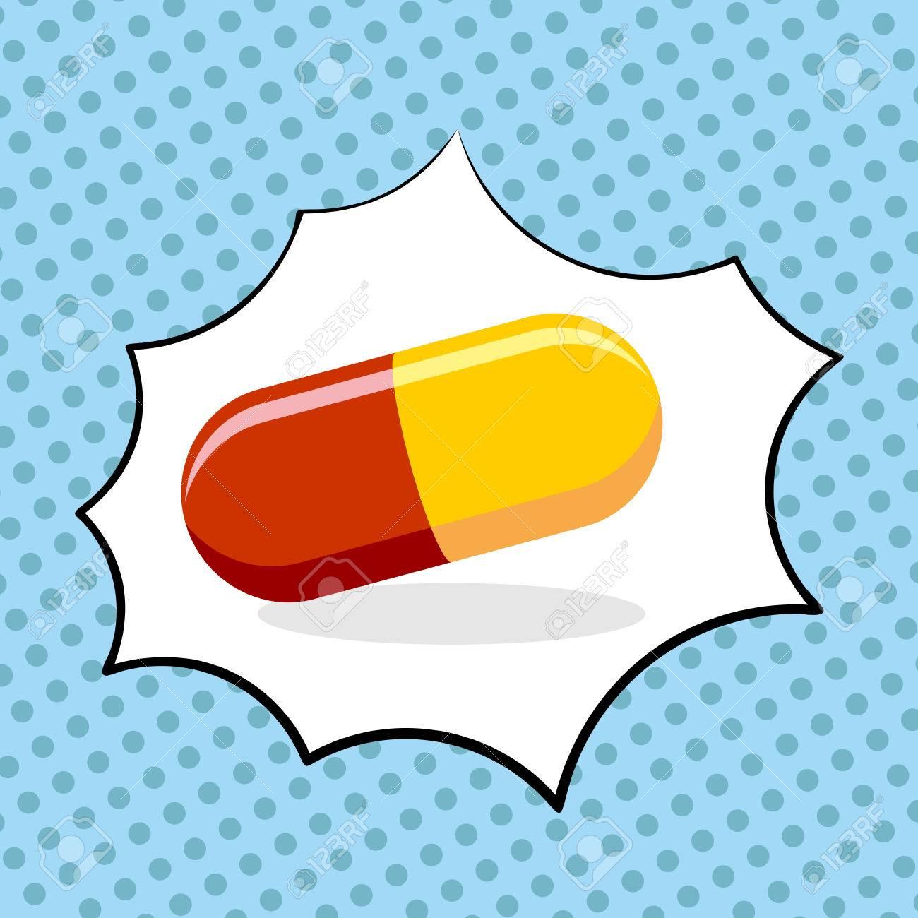 Medicine pill pop art. Medicinal drugs. Vector illustration - 45878729