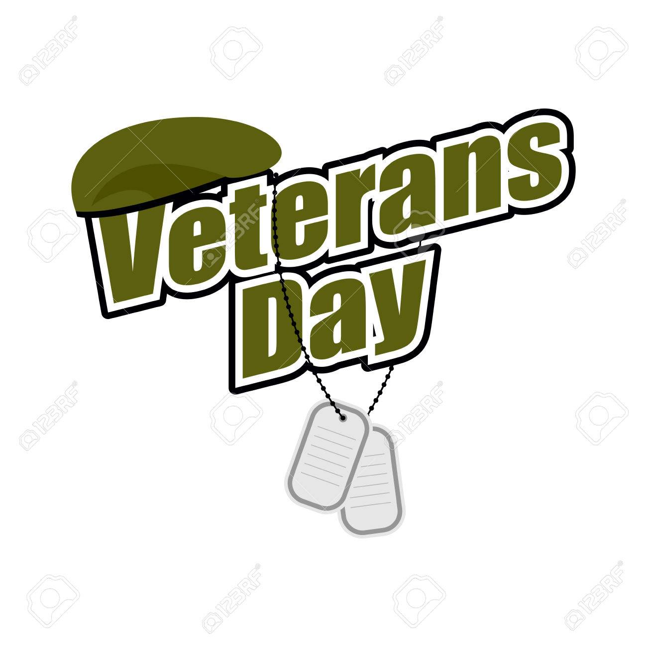 Veterans Day Text With Army Token And Green Beret Soldier National