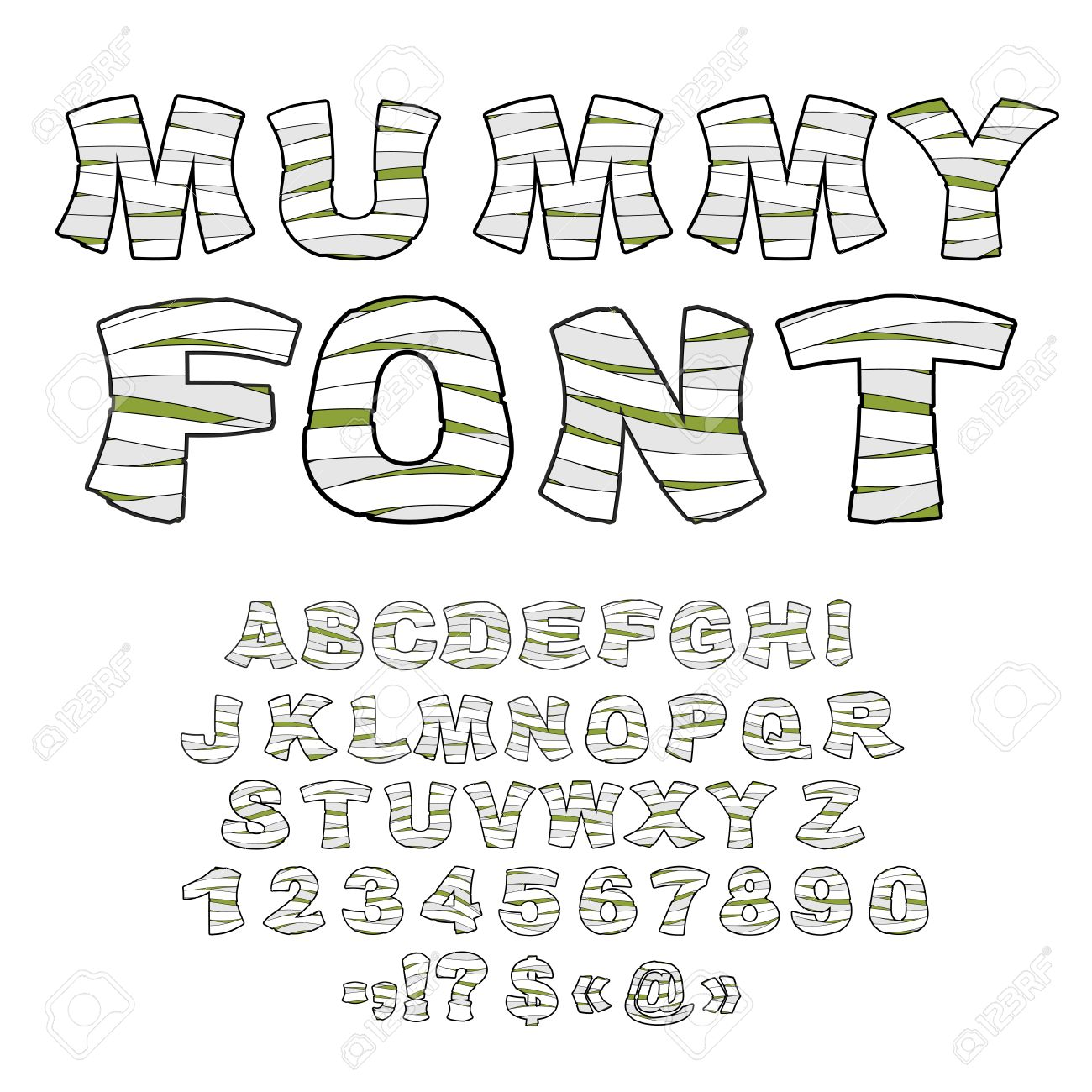 Mummy Font Alphabet In Bandages Monster Zombie Letters Of Latin Learned Embalming
