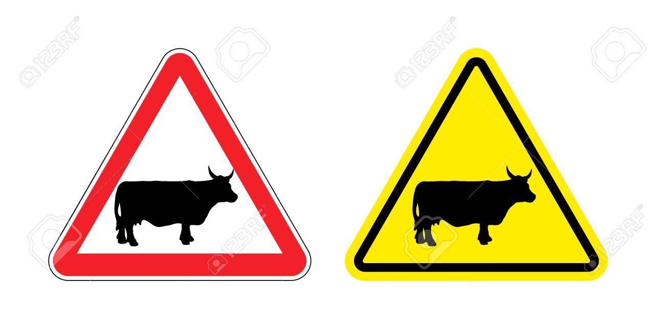 Extrêmement Avertissement Signe Attention Vache. Danger Panneau Jaune élevage  LM98