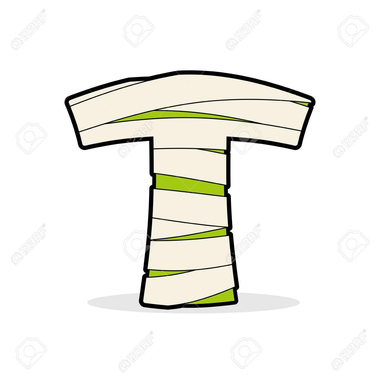 Lettre T Maman Typographie Icône Dans Des Bandages éléments égyptiens Horribles Zombies Modèle Alphabet Abc Type Que Logotype De Concept