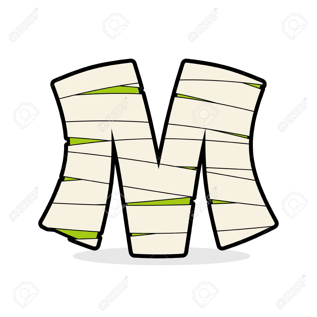 Letter M Mummy. Typography Icon In Bandages. Horrible Egyptian ...