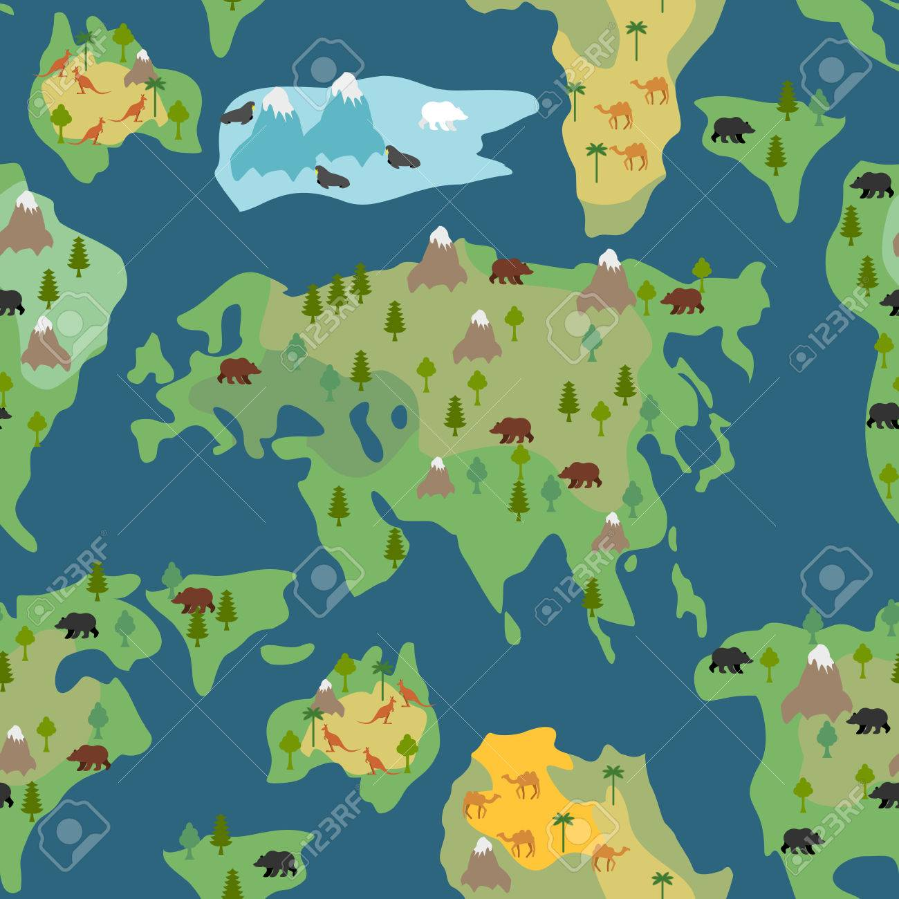 Continents seamless pattern world map is endless ornament continents seamless pattern world map is endless ornament geographical atlas with flora and fauna gumiabroncs Gallery
