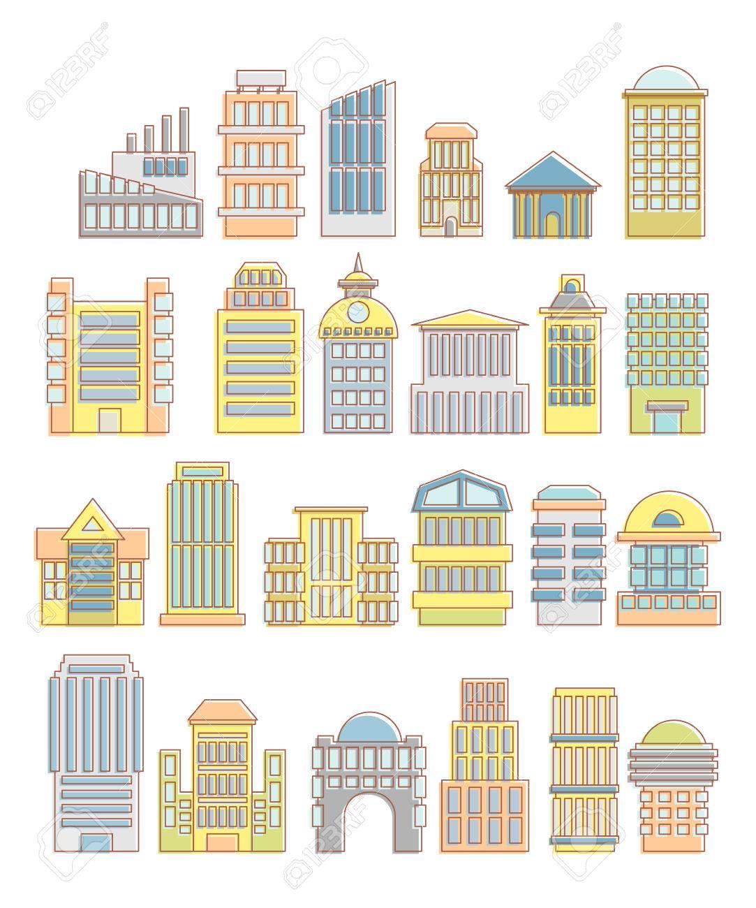 Sammlung Von Gebäuden, Häusern Und Architektonischen Objekten ...