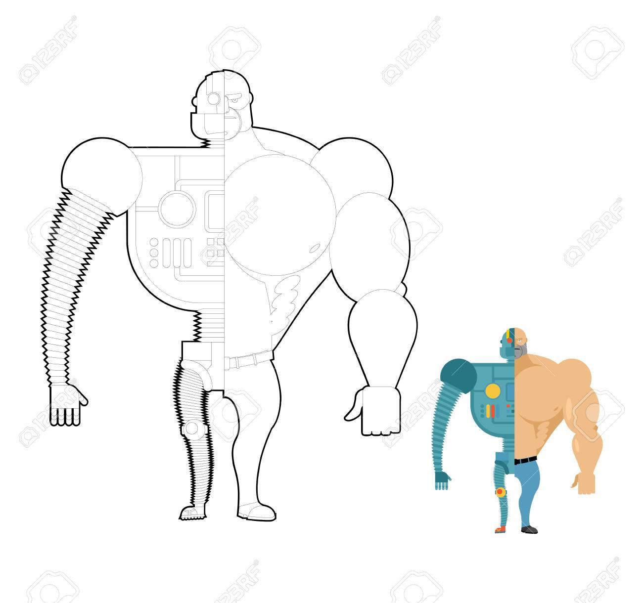 Bionic Robot Coloring Book. Cyber-man Of Future. Iron Skeleton ...
