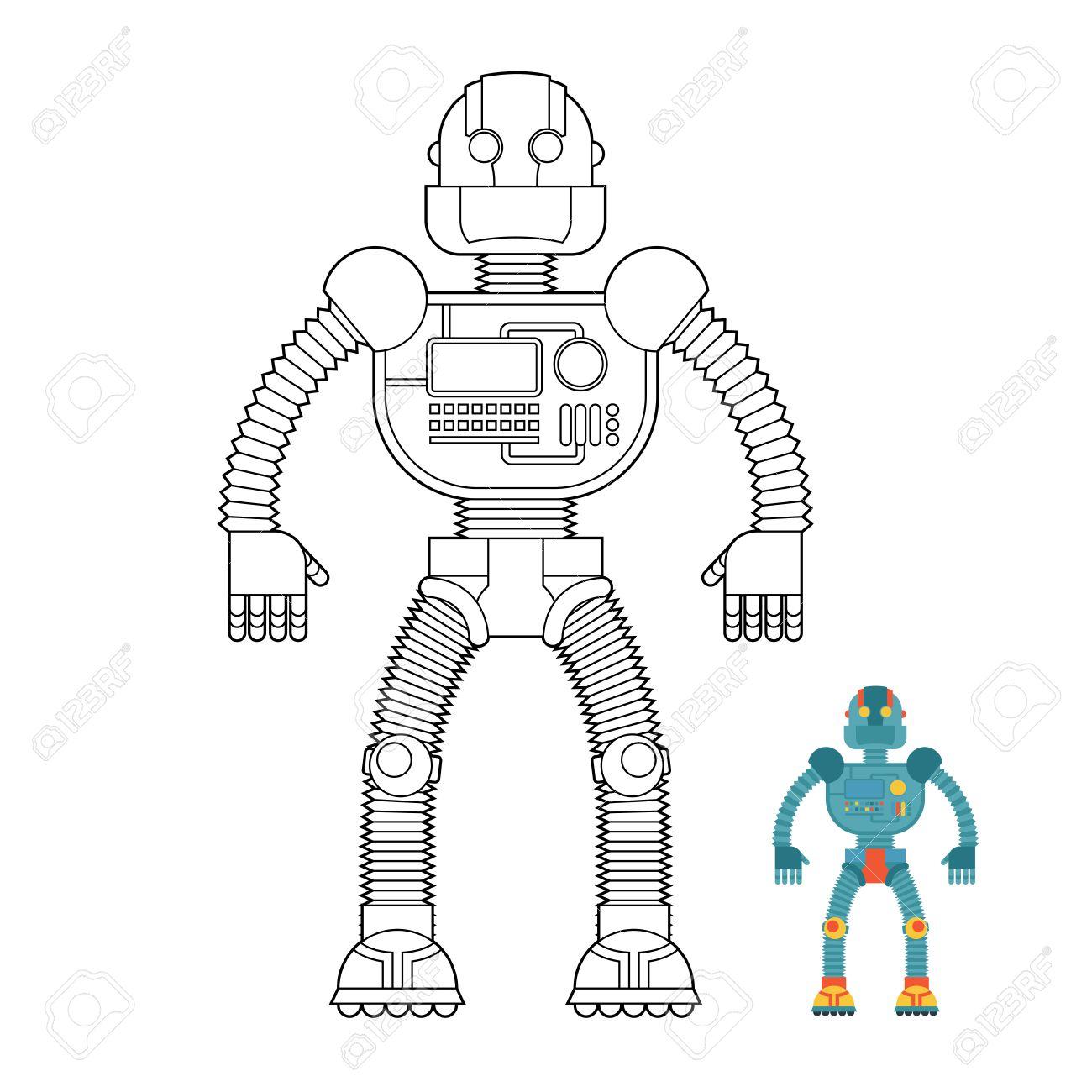Libro Para Colorear Robot. Cyborg - Máquina Tecnológica. Máquina ...