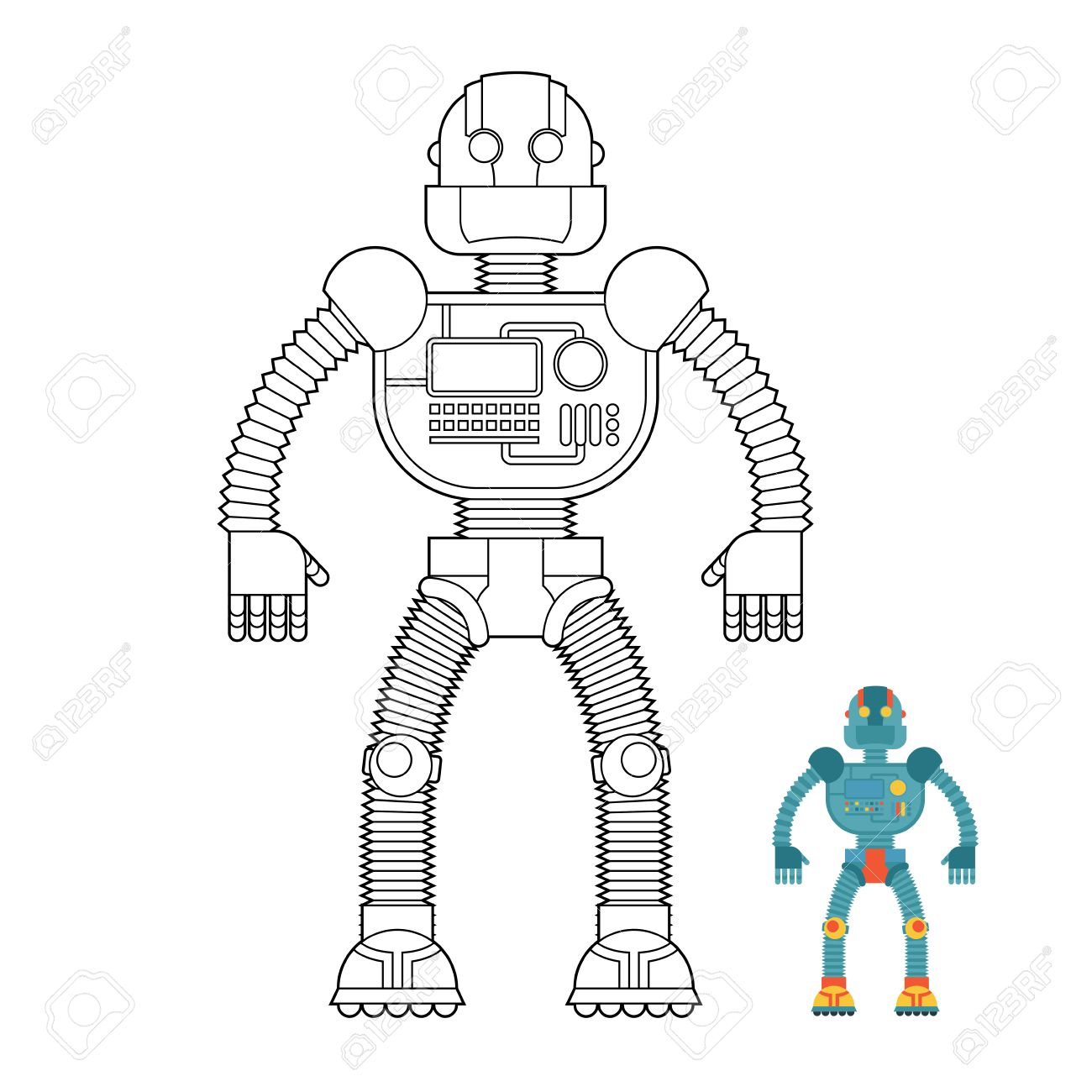 Robot Coloring Book. Cyborg - Technological Machine. Humanoid ...