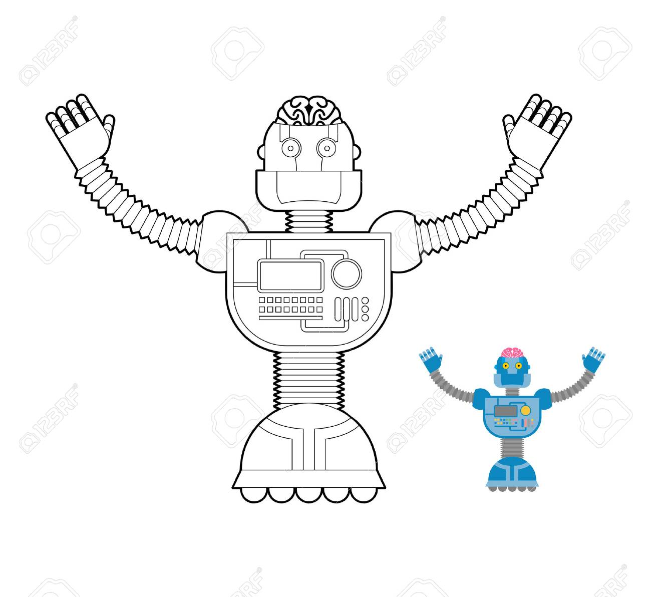 Space Robot Coloring Book. Cybernetic Mechanism With Artificial ...