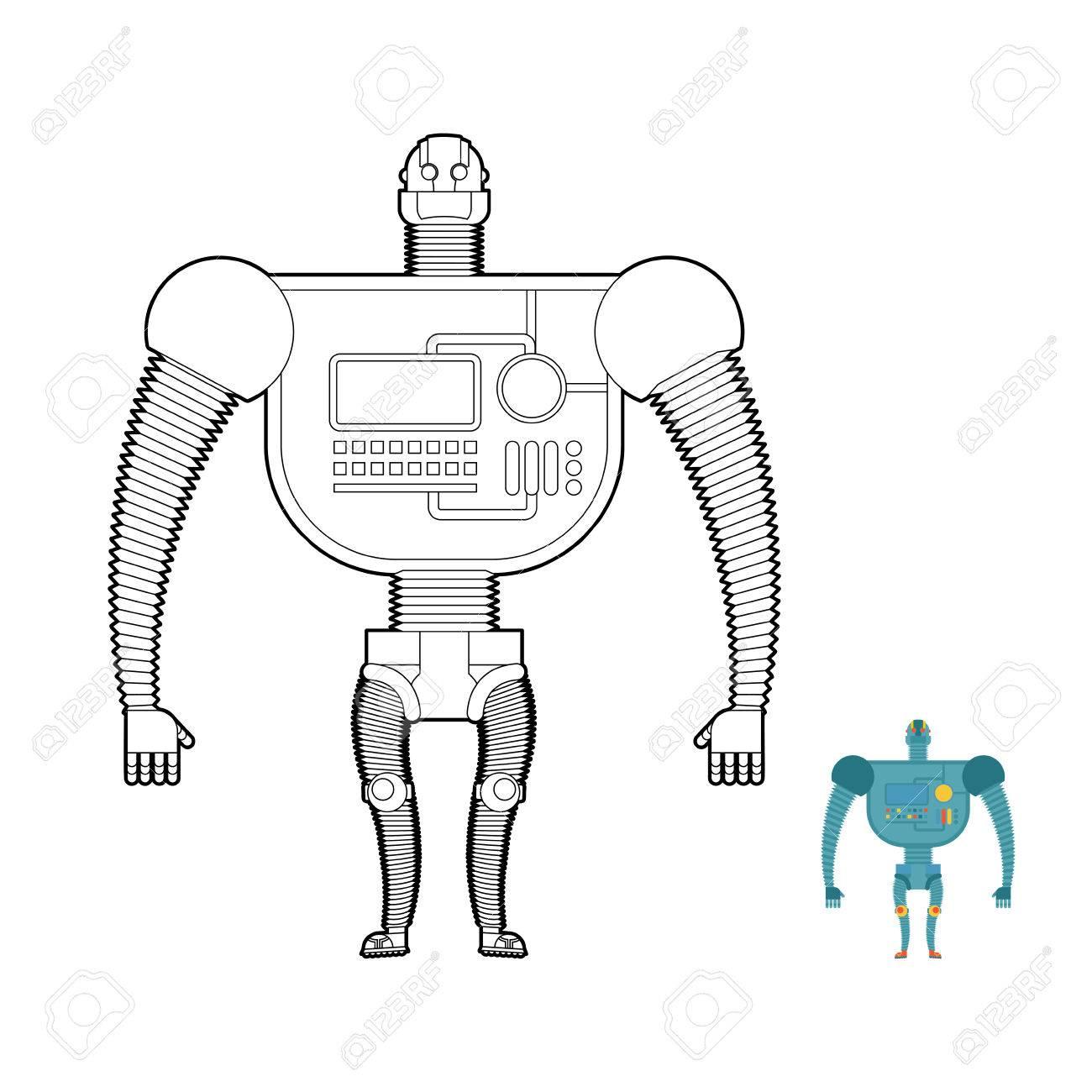 Robot Guerrero Retro Libro Para Colorear. Juguete Para Los Niños ...