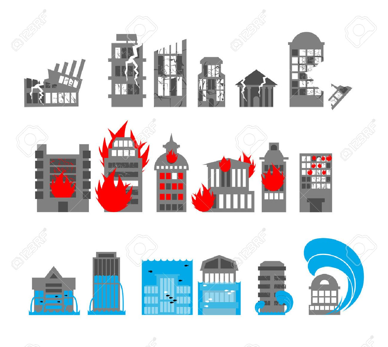 Set building disasters destruction. Flood and fire in public buildings. Tsunami and earthquake. Urban elements of broken homes. - 46972498