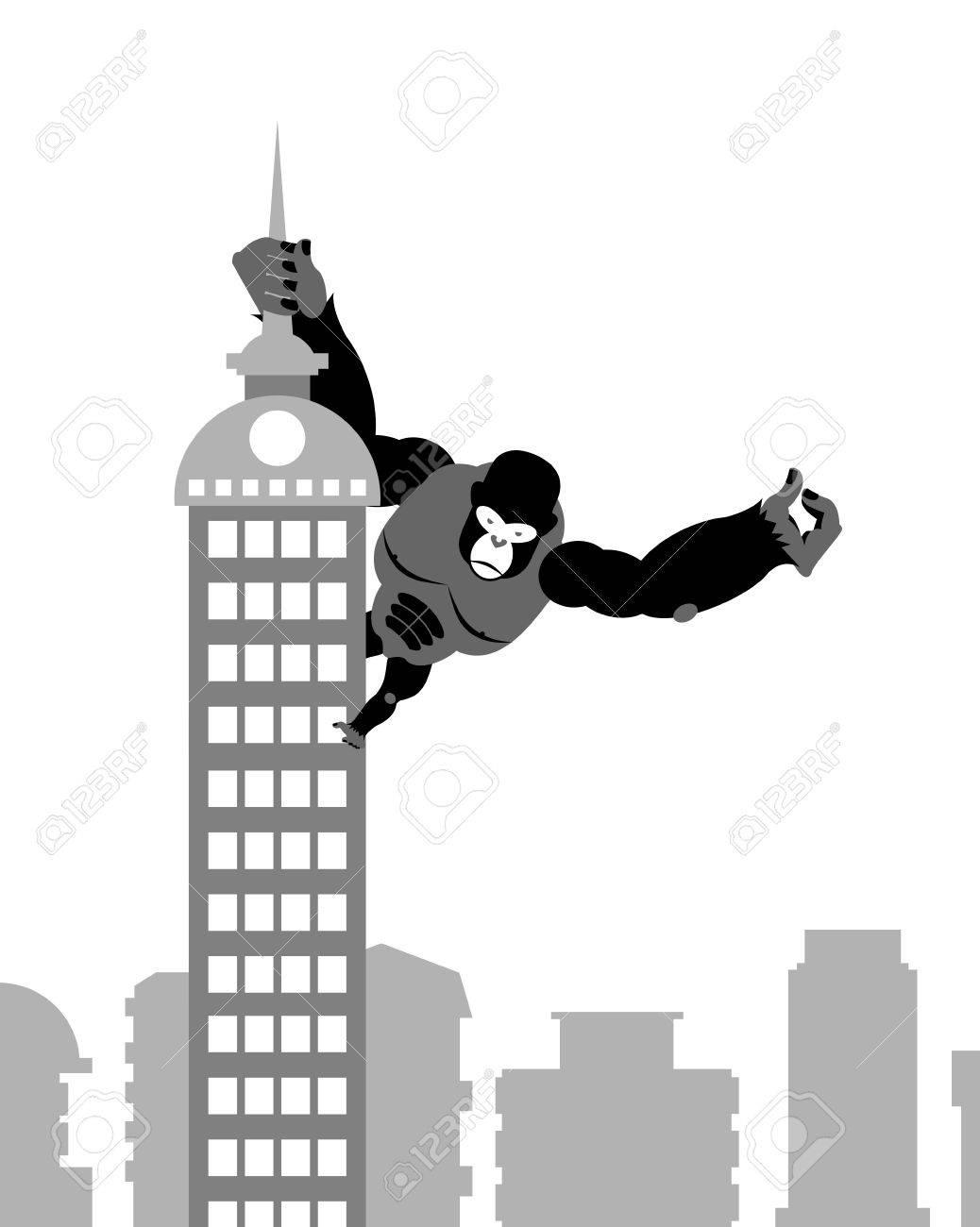 King Kong En La Construcción. Gran Gorila Fuerte Guarda Spire ...