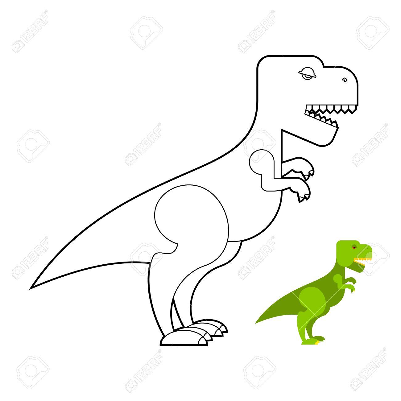 T-rex Libro Para Colorear Dinosaurio. Tyrannosaurus Gran Miedo ...