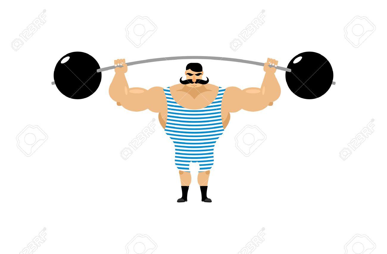 Vintage Strongman. Ancient athlete. Retro bodybuilder barbell. Strong power Circus actor. - 47552834