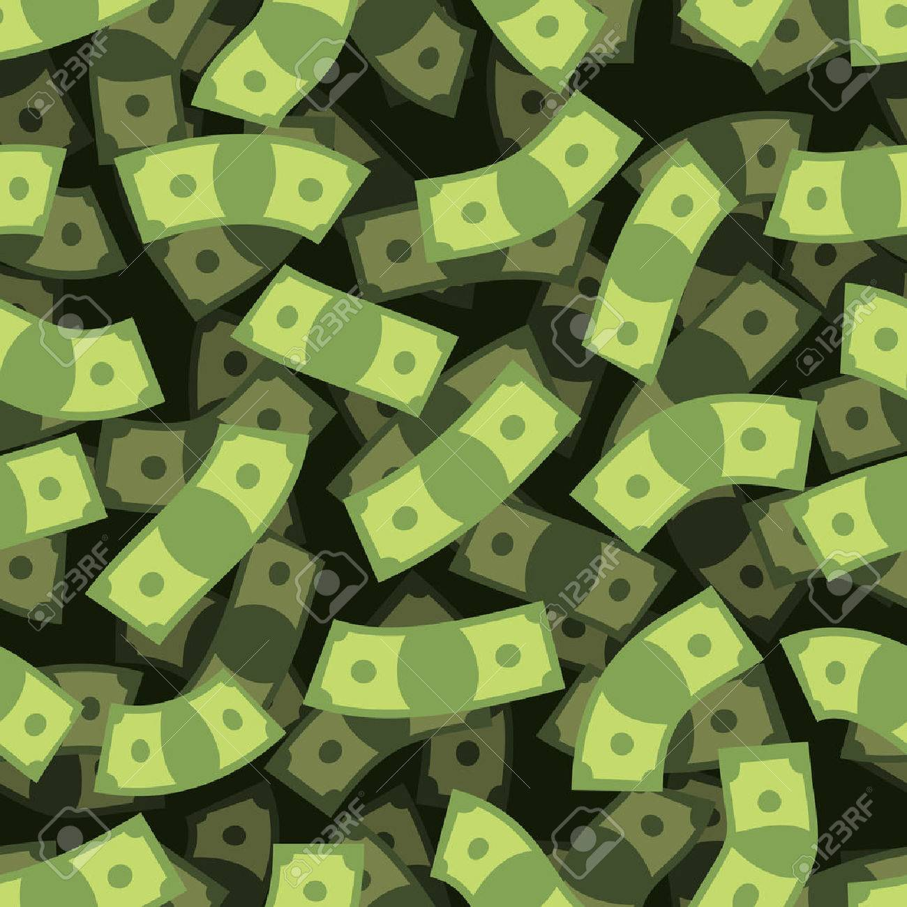 Money seamless pattern. Cash background. Money Rain. Flying dollars. 3D texture of cash. Financial Repeating Ornament. - 47647952